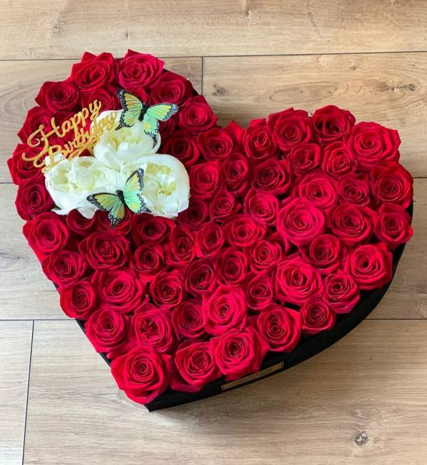 Fancy Flower Heart - Red